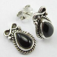 """925 SOLID Silver Fabulous BLACK ONYX WOMEN'S Earrings 0.6"""" COMBINED SHIPPING"""