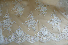 "Beaded Ivory 51"" Lace Fabric Floral Embroidery Corded Lace Fabric 1/2 Meter"