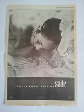 SADE Love is Strongrer Than Pride 1988 UK Poster size Press ADVERT 16x12 inches