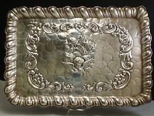 VICTORIAN ANTIQUE ENGLISH STERLING SILVER DRESSING TABLE TRAY CHERUBS W. NEALE