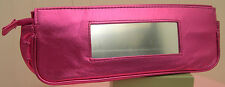 New Clinique Pink Metallic Cosmetic Makeup Bag Case with Mirror