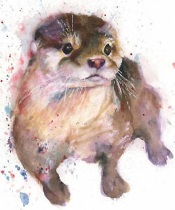 Limited Edition Print of BEAUTIFUL OTTER watercolour by HELEN APRIL ROSE   441
