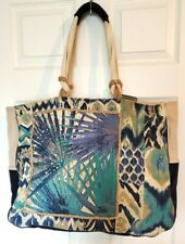 Womens XXL Blue Natural Tropical Print Canvas Beach Shopper Travel Zipper Tote