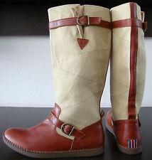 GAASTRA Stiefel Damen Leder Canvas Boots Wadenhohe Stiefel Beige Cognac Gr38 NEU