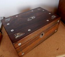 Antique Victorian walnut jewellery box pewter 7 MOP inlay period paper interior