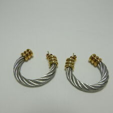 Philippe Charriol Gold & Silver Stainless Steel Celtic Cable Earrings