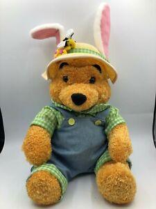 Walt Disney Store Winnie The Pooh Easter Bunny Farmer Plush Stuffed Toy Animal