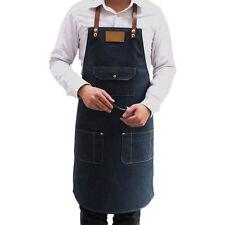 Denim Apron Kitchen Chef Cooking Bib Pinafore Waiter Barista Workwear W/ Pockets