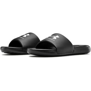 Under Armour 3023761 Men's Black/White UA Ansa Fix Slides Flip Flops, Size 10