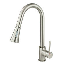New Kitchen Faucet Brushed Nickel Pull Out Dual Spray Single Handle Sink Tap Bar