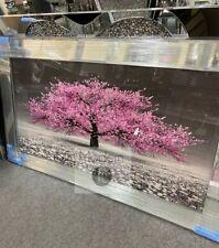 Impresionante flor rosa árbol 3D Marco De Espejo de imágenes de arte Brillo