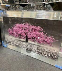 Stunning pink blossom tree 3D glitter art picture mirror frame