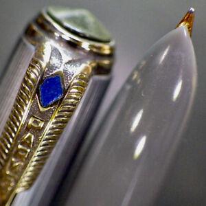 """PARKER """"51"""" VAC Blue Diamond Postwar Filler Fountain Pen 14K Gold F Nib Serviced"""