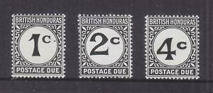 BRITISH HONDURAS, POSTAGE DUE, 1956 Chalky paper, set of 3, mnh.