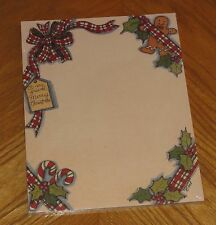 Susan Winget Art - Gingerbread Man Candy Cane -vtg Main Street Press Letter Pad