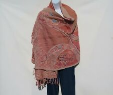 Yak/Sheep Wool Blend|Stitched Embroidery|Shawl|Handcrafted|Nepal|Salmon & Coral