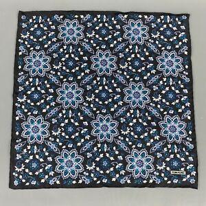 TOM FORD Black & Teal Floral Silk Pocket Square