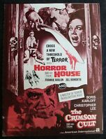 HORROR HOUSE-CRIMSON CULT press book FRANKIE AVALON BORIS KARLOFF CHRISTOPHER LE