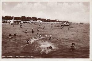 (R.P.P.C) VENEZIA LIDO. VITA BALNEARE - OLD REAL PHOTO POSTCARD 1937