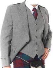 "Argyle kilt Jacket & Waistcoat/Vest,Scottish Argyle Jacket Grey Blazer Wool 38""R"