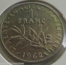 1 franc semeuse 1962 : TTB : pièce de monnaie française