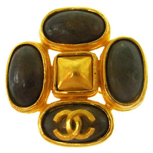 CHANEL Vintage CC Logos Stone Brooch Gold Gray Authentic 97A AK35510c