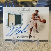 2018-19 Panini Flawless Patch Auto Malcolm Brogdon /25 3x color patch + on card