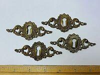 Victorian Cast escutcheons Fancy lot  4 pc Brass Antique Salvage Ornate Keyhole