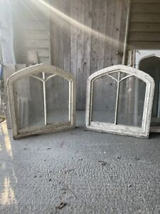 Pair double arched windows Gothic revival 1800s