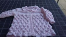 New Hand Knitted Baby Jacket, Girls, 12-18 Months, Patons 4 Ply, Pink