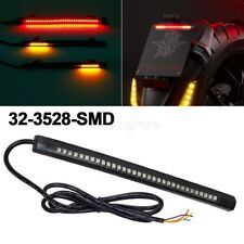 "Motorcycle Integrated 32LED 8"" Tail Brake Stop Turn Signal Running Light Strip"