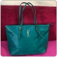 Vintage YSL Yves Saint Laurent Green Big Tote Shoulder Bag