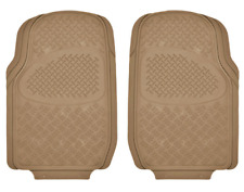 2PC Front Row Diamond Plate Rubber Floor Mats for Car - HD All Weather Beige