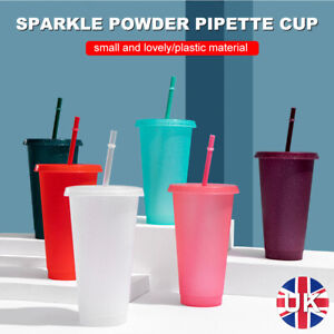 Reusable Flash Powder Shiny Plastic Water Bottle Cold Cup With Lid And Straw
