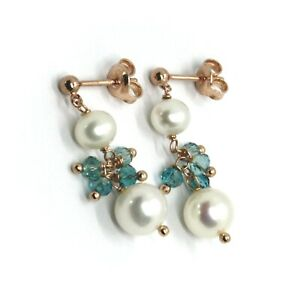 18K ROSE GOLD PENDANT EARRINGS, WITH WHITE PEARLS AND BUNCH OF BLUE CRYSTALS