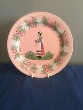 HENRIOT QUIMPER PINK FAIENCE PLATE