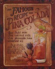 """Blechschild """"Pina Colada"""" Cocktail Bar Diner Café Bistro Kneipe 25x20cm neu"""