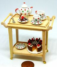 1:12 Scale Complete Wooden 2 Tiered Tea Trolley Tumdee Dolls House Accessory
