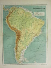 1904 ANTIQUE MAP ~ SOUTH AMERICA PHYSICAL LAND HEIGHTS OCEAN CURRENTS ISOTHERMS