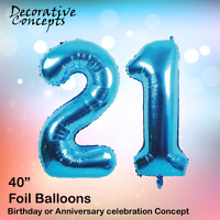 """Giant 21st Birthday Party 40"""" Foil Balloon Helium Air Decoration Age 21 BLUE"""