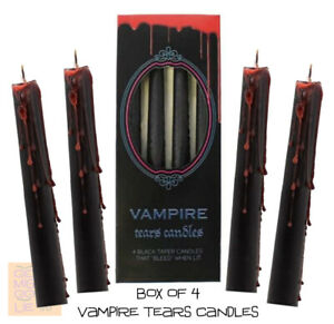 Vampire Tears Candle *Box of 4 Black Bleeding 'Blood' Wax Candles Goth Halloween