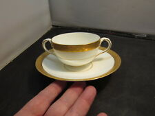 BROWN WESTHEAD MOORE Cauldon Ware 2 Handle Soup Cup Saucer Plate England