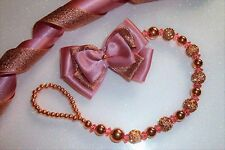 Rose or Rose Shamballa SUPER LUXE cristal bling Baby Dummy Clip Chaîne