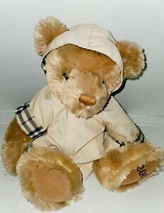Adorable 2007 Burberry Plush Beige Teddy Bear Nova Check Hooded Raincoat 11''