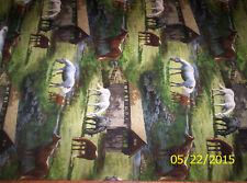 Wild Wings Sweetwater Bridge Scenic with Horses cotton fabric by the half yard
