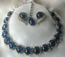 Vintage Blue Glass & Rhinestones Necklace & Earrings Set Unsigned Boucher