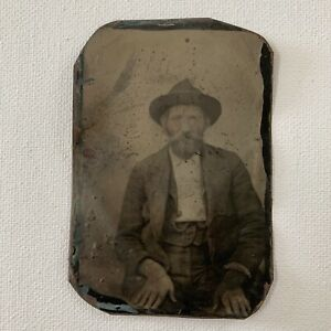 Antique Bon-Ton Tintype Photograph Handsome Mature Man Cowboy Hat Beard