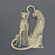 New 2pcs Large Antique Brass Double Leopards Charm Pendants For Jewelry Making