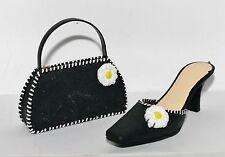 Jc Penney Floral Chic Black White Stitch Slide High Heel Shoe Handbag Ornaments