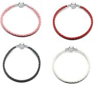 Braided Leather Snake Chain Charm Bracelets With Barrel Clasp RED WHITE BLUE...